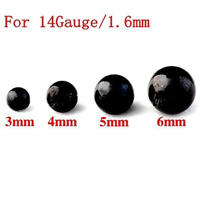 10 Spare Surgical Steel Threaded Black Balls Body Piercing Parts Mix Sizes 14g