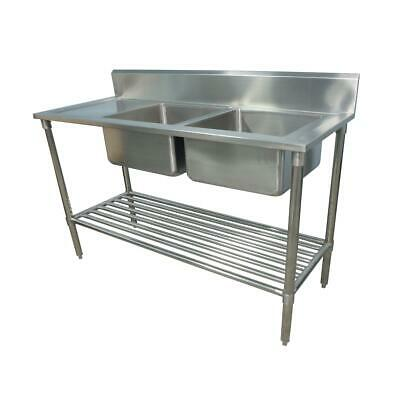 1900x600mm NEW COMMERCIAL DOUBLE BOWL KITCHEN SINK #304 STAINLESS STEEL BENCH E0