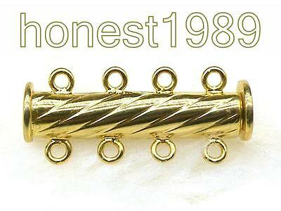 14K Gold Filled Columnar Magnetic Jewelry Clasp For 4 Strand