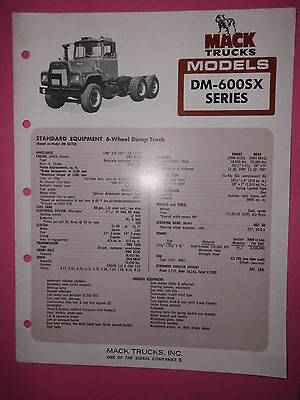 Sales Brochures Truck Prospekt Mack Trucks Models DM-600SX Series Equipment