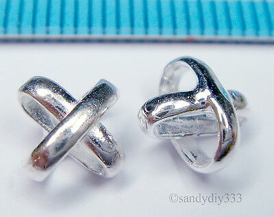 4x BRIGHT STERLING SILVER PLAIN CROSS SPACER CONNECTOR BEAD 6.6mm #1249
