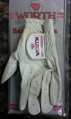Worth All Leather Batting Glove Padded Palm White Small Right DJP NEW