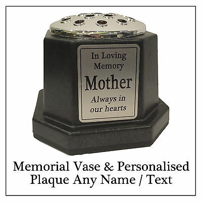 Memorial Plaque Flower Vase - Black Grave Pot & Personalised Silver Name Plaque