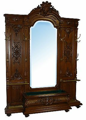 Antique French Style Carved Walnut Hall Mirror #7055