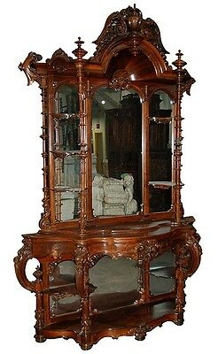 Antique Victorian Rococo Carved Rosewood Étagère by Thomas Brooks #7302