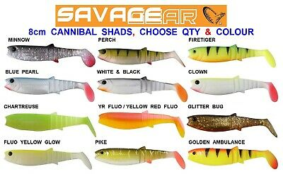 SAVAGE GEAR 8cm CANNIBAL 4PLAY SHADS SEA COARSE FISHING SPINNING ROD PIKE LURES