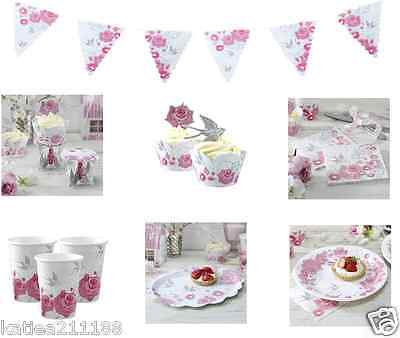 wedding vintage enchanted rose swallow party plates napkins cups bunting