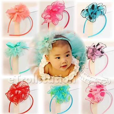 Lovely Girls Children Infant & Toddler Polka Dot Flower Ribbon Bow Cute Headband