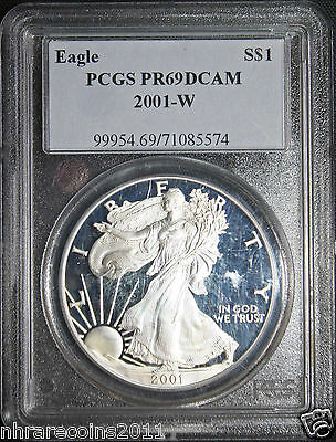 """2001"" W PROOF SILVER AMERICAN EAGLE .999 FINE 1 OZ. PURE  PCGSPF 69"