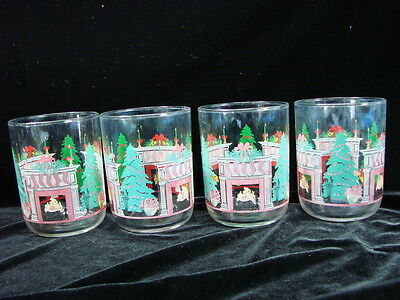 Set 4 Vtg Libbey Christmas Drinking Glasses Rocks Tumblers Fireplace Tree Clear