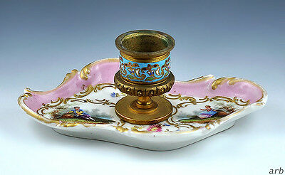 Nice Antique Paris Porcelain Candle Holder Featuring Courting Scenes, Pink Blue