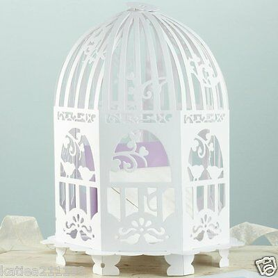New wedding white vintage lace birdcage card holder post box & mr mrs banner