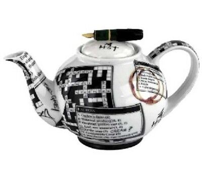 NEW boxed Paul Cardew Crossword & ink pen 2 cup 18oz teapot
