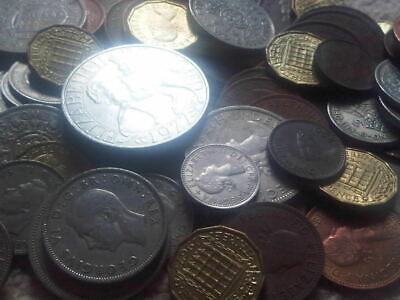 25 Old English Coins, Farthing, shilling penny,florin,halfcrown crown,Sixpence