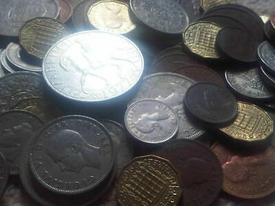 30 Old English Coins, Farthing, shilling penny,florin,halfcrown crown,Sixpence