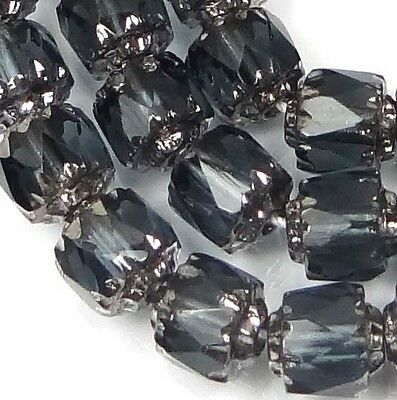 25 Czech Antique Style Octagonal Cathedral Beads - Silver: Montana Blue 6mm