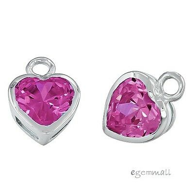 2PC Lab Ruby In Sterling Silver Small Heart Pendant Charm Beads 7.4mm #97812