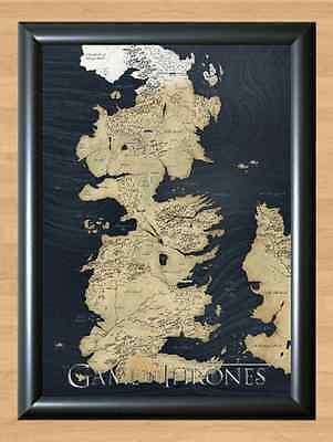 Game Of Thrones Map New Winterfell Westeros King's Landing Wall A4 Print Poster