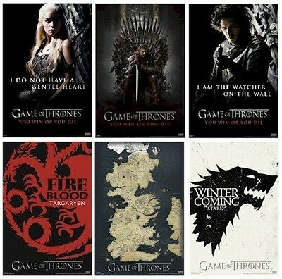 GAME OF THRONES POSTER SET OF 6 ~ TV Win Or A4 Size LOT ... Map Of Game Thrones Poster on