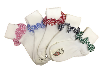 Girls Ankle Turn over Top socks with Gingham trim 3 pairs school sizes colours.