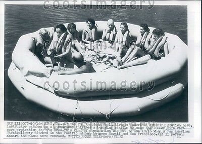 1956 Pan American Airways Survival Training on Life Raft Miami Press Photo
