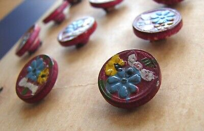 Vintage Buttons - Set of 12 Hand Painted Red Wood Buttons (blue flower)