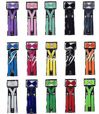 Matching Suspender and Bow Tie Set for Adults Men Women Teens (USA Seller)