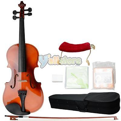 Perfect 3/4 Natural Solid Wood Acoustic Violin + Case+ Bow + Rosin & Accessories