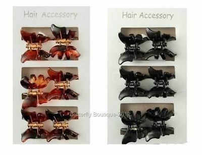 6 Mini Butterfly Hair Clips Clamps Claws Grips In Tort or Black