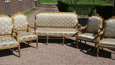 ANTIQUE COMPLETE LIVING ROOM SET - FRENCH LOUIS XVI - 5 PIECES