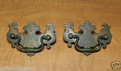 5134/ Antique Federal Pair of Drawer ~ Cabinet Pulls ~ Vintage Brass SEE PHOTOS