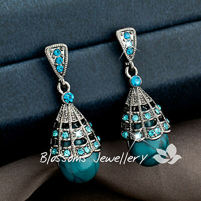Vintage ANTIQUE STL Ladies TEARDROP Blue TURQUISE Stone DANGLE EARRINGS HC0150