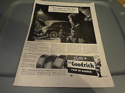 """1941 B.F. Goodrich Tires Vintage Magazine Ad """"It's enough to make you quit..."""""""