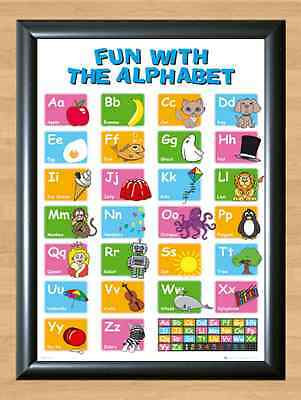 Alphabet Poster Learn My ABC Wall Chart Fun Children Educational A4 Photo Print