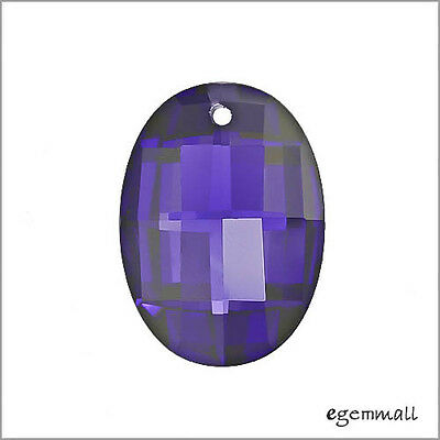 Cubic Zirconia Puffy Oval Pendant 13x18mm Purple #64184