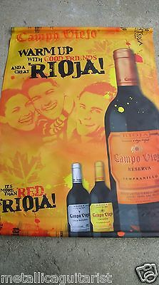 "CAMPO VIEJO WINES - SPAIN - PROMOTIONAL 45"" x 32"" CLOTH WALL BANNER *NEW*"
