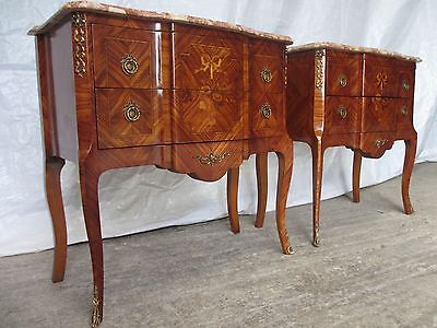 Lovely pair of Louis XVI style inlaid marquetry gilt bedside commodes (ref 263)