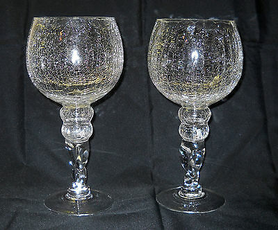 """Set of 2 quality Vintage Crackle Glass  10"""" tall Goblets clear"""