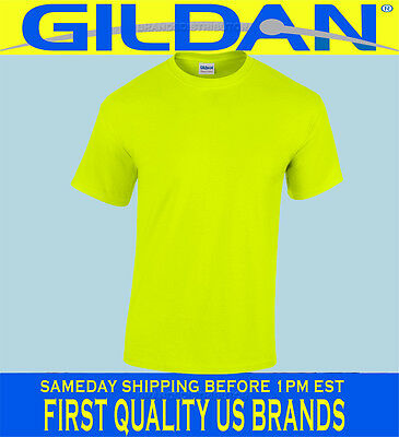Gildan Safety Yellow Green T-Shirt Lot S-XL ANSI HIGH VISIBILITY WHOLESALE PLAIN