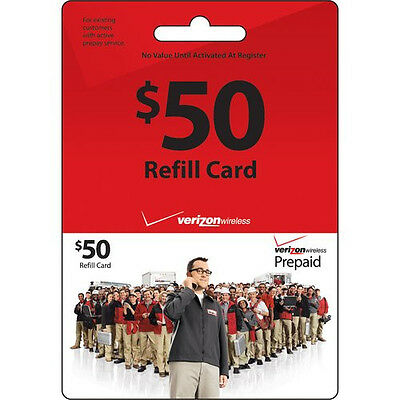VERIZON WIRELESS $50 Refill. FASTEST REFILL Card Credit APPLY DIRECTLY to PHONE