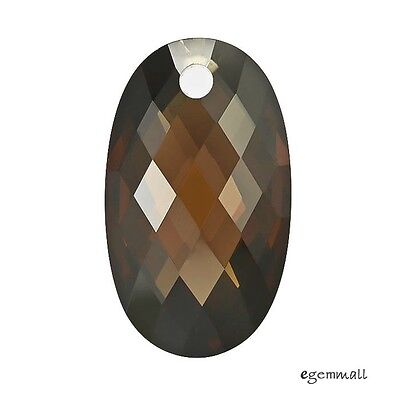 Cubic Zirconia Big Hole Puffy Oval Pendant Bead 14x24mm Brown #96121