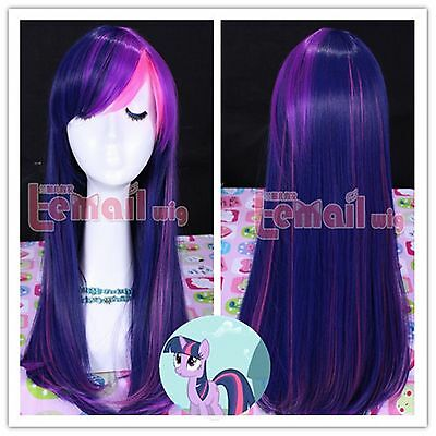 Cute Pony Heat Resistant Twilight Sparkle long straight Cos play Anime Wig