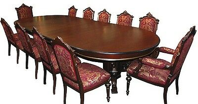 Beautiful 13-Pc. Walnut Renaissance Revival Dining Set c. 1880 #5424