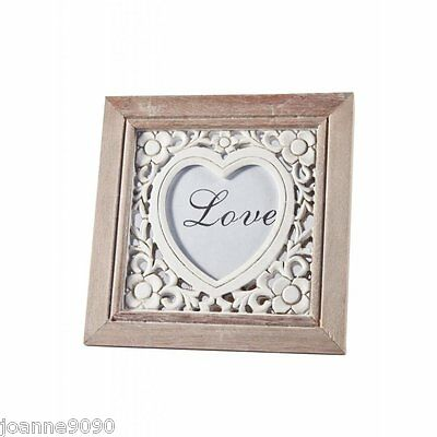 Gisela Graham Hand Carved Floral Love Heart Photo Frame Home Mothers Day Gift
