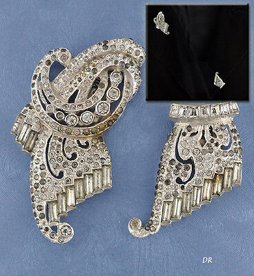 c. 1920 Deco Highest Quality Rhinestone Dress Fur Clips