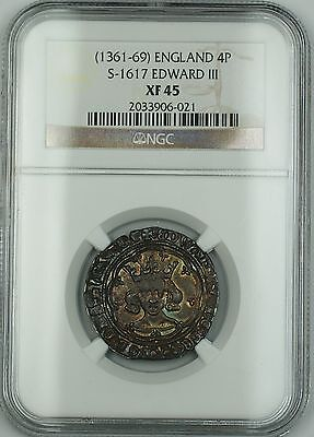 (1361-69) England Groat 4P Silver Coin S-1617 Edward III NGC XF-45 AKR