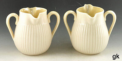 2 Excellent Double Spouted Belleek Creamers Double Handles 2nd & 3rd Green Mark