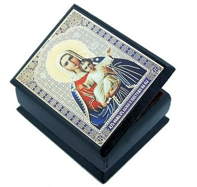 """Madonna and Child Authentic Russian Decoupage Icon on 2 1/4"""" Wooden Rosary Box"""
