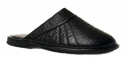 Mens Slippers Grosby Nathan Brown or Black Mule Slipper Size 6-12 Leather Look