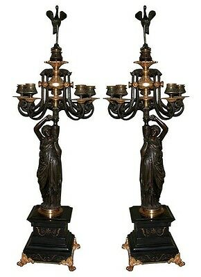 Responsible Pair Of 19th C Cast Bronze Figural Candelabras With Griffins #6760 Shelf, Mantel
